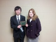 The LHS novice debate team of Sungho Hwang, left, and Bridget Smith placed second this weekend at the Sunflower Novice State Championships at Washburn Rural High School in Topeka.