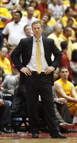 Iowa State head coach Fred Hoiberg watches late in the second half on Monday, Jan. 13, 2014 at Hilton Coliseum in Ames, Iowa.