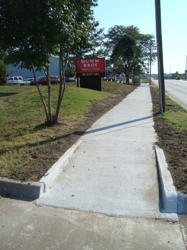 A new sidewalk was added along 23rd Street in Lawrence in 2013. Uploaded