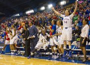 The Kansas bench erupts in celebration as the Jayhawks pull ahead of Baylor in the second half of their game, Sunday at Allen Fieldhouse. The Jayhawks beat the no. 7 Baylor Bears, 76-60.