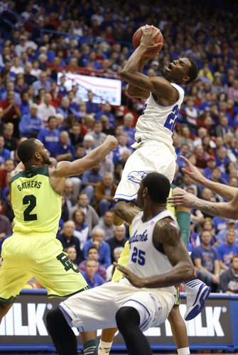 Kansas guard Andrew Wiggins pulls up for a shot before Baylor forward Rico Gathers during the second half on Monday, Jan. 20, 2014 at Allen Fieldhouse.