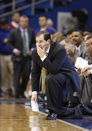 Baylor head coach Scott Drew watches from the sideline during a Jayhawk run in the second half on Monday, Jan. 20, 2014 at Allen Fieldhouse.
