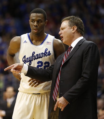 Kansas head coach Bill Self gives some direction to Andrew Wiggins during the second half on Monday, Jan. 20, 2014 at Allen Fieldhouse.