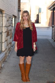 Elizabeth's casual-but-classy Valentine's Day outfit from Fortuity, 809 Massachusetts St.: Dress, $41; red cardigan, $41; necklace $31; and bracelets, $20.