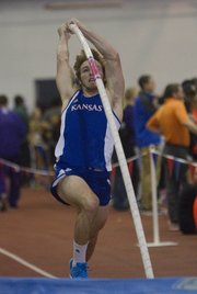 Kansas Pole Vaulter Alex Bishop competes during the Jayhawk Classic on Friday, Jan. 24, 2014, at Anschutz Pavilion. Bishop tied for third as Jayhawks (and one former Jayhawk) took eight of the top 10 finishes.