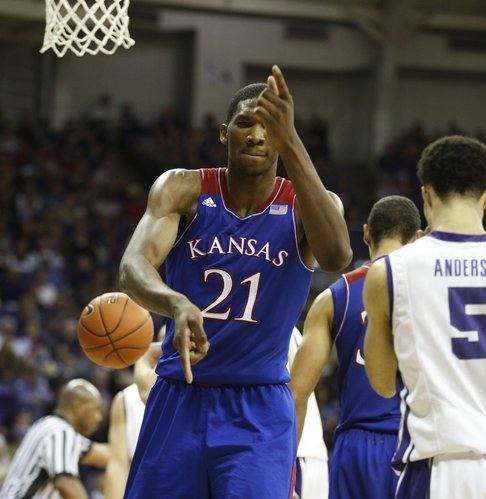 "Kansas center Joel Embiid fires off a couple of ""pistols"" in celebration after finishing a bucket after a TCU foul during the first half on Saturday, Jan. 25, 2014 at Daniel-Meyer Coliseum in Fort Worth, Texas."