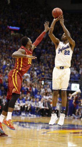 Kansas guard Andrew Wiggins puts a three over Iowa State guard DeAndre Kane during the first half on Wednesday, Jan. 29, 2014 at Allen Fieldhouse.