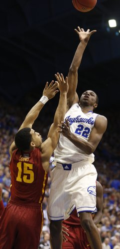 Kansas guard Andrew Wiggins floats a shot over Iowa State guard Naz Long during the second half on Wednesday, Jan. 29, 2014 at Allen Fieldhouse.