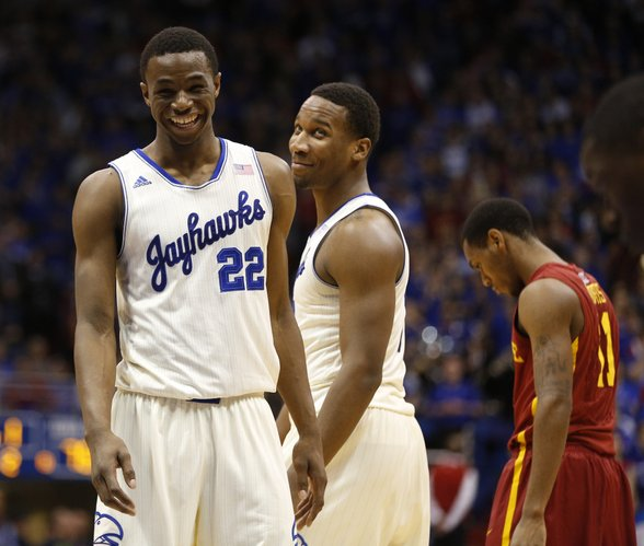 Kansas guard Wayne Selden, middle, pulls a laugh out of teammate Andrew Wiggins late in the game against Iowa State on Wednesday, Jan. 29, 2014 at Allen Fieldhouse.