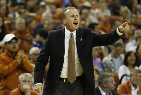 Texas head coach Rick Barnes calls a play during the first half on Saturday, Feb. 1, 2014 at Erwin Center in Austin, Texas.