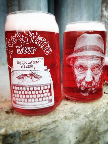 Free State Brewing Co. is paying tribute to the 100th anniversary of the birth of William S. Burroughs with a special brew called Burroughser Weisse. Pictured in this contributed photo from Free State, the fuchsia-colored beer will be served in a special commemorative glass designed by local artist Jessica Rold.
