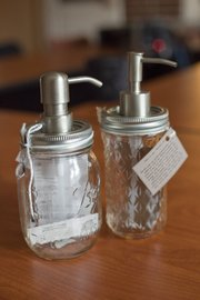 Mason jar soap/lotion dispensers, $20, at Made, 737 Massachusetts St.