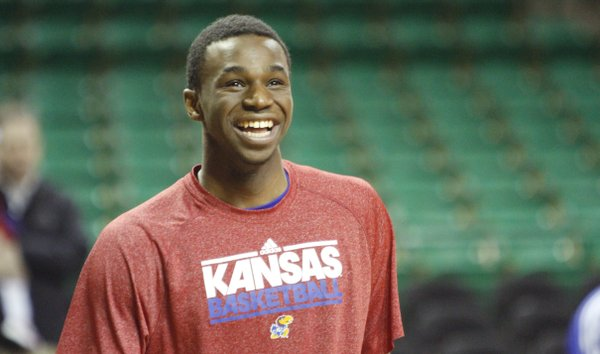Kansas guard Andrew Wiggins laughs with teammates during a shoot around before the start of the Jayhawks game against Baylor Tuesday, Feb. 4, 2014 at Ferrell Center in Waco, Texas...