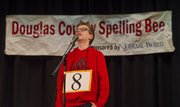 Southwest Middle School eighth-grader Ethan Perrins won the 2014 Douglas County Spelling Bee on Saturday inside his home school. Ethan was one of 24 students to compete. Langston Hughes fifth-grader Morgan Orozco finished second and both will compete in the March 2 regional bee in Topeka.