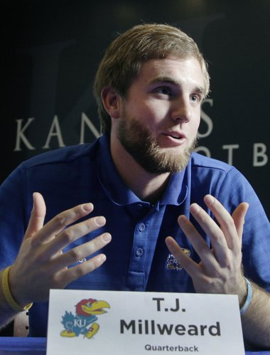 Kansas University quarterback transfer T.J. Millweard speaks to the media on Wednesday, Feb. 12, 2014, at the Anderson Family Football Complex.