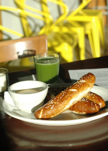 Soft pretzels with beer-cheese dip from the Thursday night small plate menu at The Roost, 920 Massachusetts St.