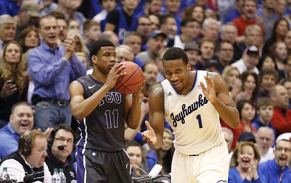 Kansas guard Wayne Selden celebrates after forcing a five-second call against TCU forward Brandon Parrish during the second half on Saturday, Feb. 15, 2014 at Allen Fieldhouse.