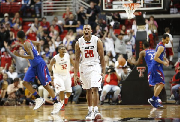 Texas Tech guard Toddrick Gotcher explodes after a three by the Red Raiders during the second half on Tuesday, Feb. 18, 2014 at United Spirit Arena in Lubbock, Texas.