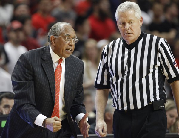 First-year Texas Tech head coach Tubby Smith pleads with a game official during the first half on Tuesday, Feb. 18, 2014 at United Spirit Arena in Lubbock, Texas.