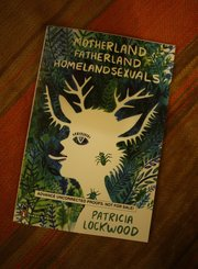 "An advance copy of Lockwood&squot;s poetry collection ""Motherland Fatherland Homelandsexuals,"" coming out from Penguin in June. Both of her books' cover art were illustrated by artist Lisa Hanawalt. Nick Krug/Journal-World Photo"