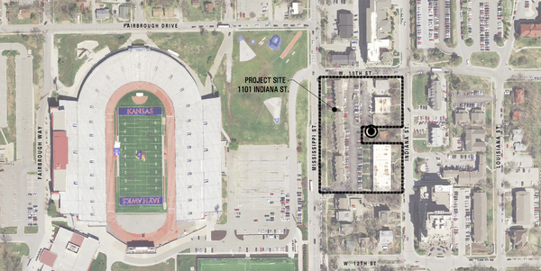A satellite image of the proposed site for a five-story apartment and retail building near KU's Memorial Stadium.