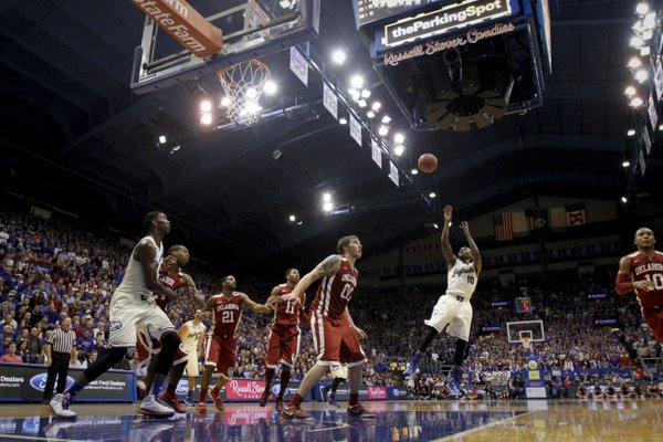 Kansas guard Naadir Tharpe pulls back for a shot against Oklahoma during the second half on Monday, Feb. 24, 2014 at Allen Fieldhouse.