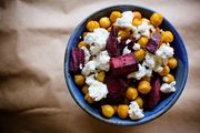 Curried Chickpeas with Roasted Beets and Feta