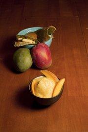 Mango-citrus sorbet and sweet n' spicy mango-avocado wrap