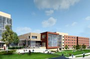 This rendering shows the ground-level exterior of a new student housing complex on Kansas University's Daisy Hill.