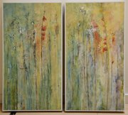 Oil on panel diptych by Jen Unekis
