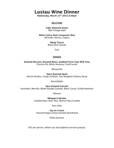 Menu for the March 12, 2014, sherry dinner at Pachamama's, 800 New Hampshire St.