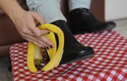 Household items and foods, like bananas, can be used to complete general cleaning tasks, like shining shoes.