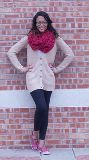 Clothing details: Sperry top siders, $80; Pink yoga pants, $25; Bon-Mar sweater, $20; Charlotte Russe scarf, $5