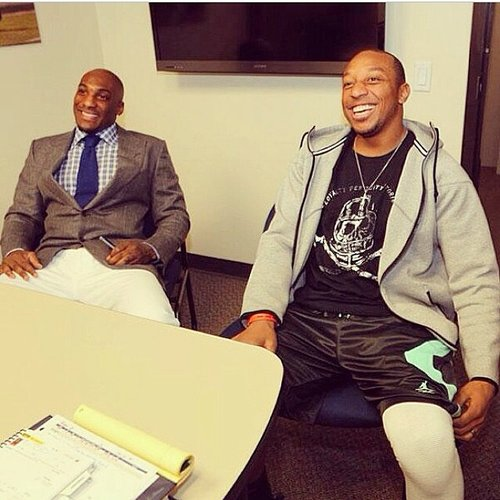 Denver cornerbacks Aqib Talib, left, and Chris Harris at Wednesday's introduction of Talib to the Denver media.