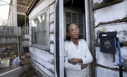 In this March file photo, Lawrence resident Georgia Bell, who is 91 and lives at 1115 Indiana Street, talks about her dealings with developers who have expressed their interest in buying her property, which is surrounded on three sides by the Berkeley Flats apartment complex.