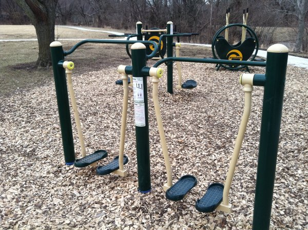 An air-walking workout machine at the Deerfield Park Fitness Zone.