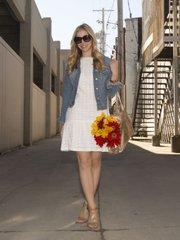Elizabeth's outfit: Kohl's dress, TJ Maxx wedge sandals, Gap jean jacket, Sorial New York tote Bag