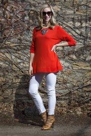 Emily's outfit: J. Crew sweater, PacSun white skinny jeans, Francesca's statement necklace, Rebecca Minkoff sandals via Shopbop.com