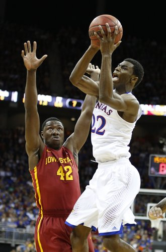 Kansas guard Andrew Wiggins pulls up for a shot against Iowa State forward Daniel Edozie during the first half on Friday, March 14, 2014 at Sprint Center in Kansas City, Missouri.