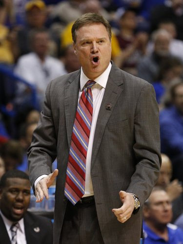 Kansas head coach Bill Self vents his frustration after a foul during the first half on Friday, March 21, 2014 at Scottrade Center in St. Louis.