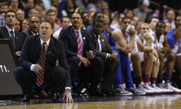 Kansas head coach Bill Self watches from the floor  during the second half on Sunday, March 23, 2014 at Scottrade Center in St. Louis.