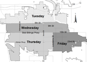 A map of the proposed trash routes for the city. The new routes are scheduled to begin on May 6. Photo: City of Lawrence