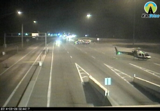 A LifeStar helicopter has landed in the eastbound lanes of Interstate 70, near the eastern toll plaza following a fatal accident.