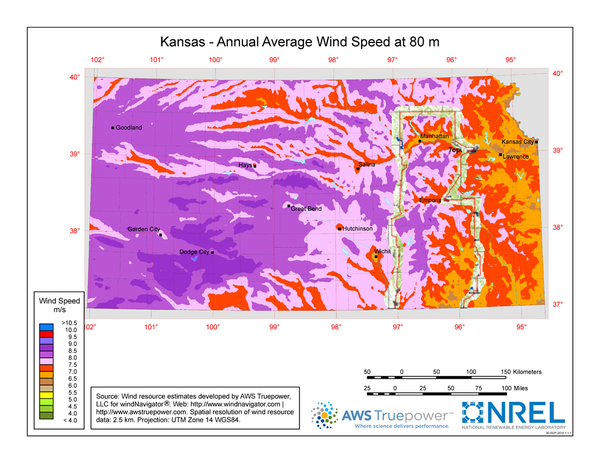Boundary of Tallgrass Prairie overlaid on a map of wind potential.