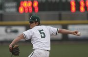 Free State pitcher Ryan Cantrell delivers a pitch during the Firebirds' 6-5 home loss to Shawnee Mission East, Thursday at FSHS..