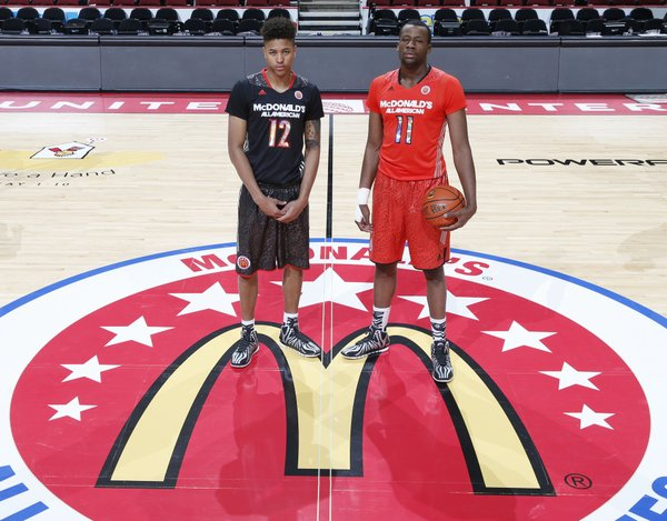Future Kansas University basketball players Kelly Oubre, left, and Cliff Alexander pose during media availability leading up to the 2014 McDonald's All-American Game.