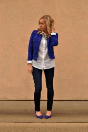 This outfit pairs a white button-down with a Gap jacket, Charlotte Russe necklace, Target jeans, H&M heels.