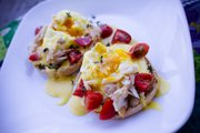 Smoked trout eggs Benedict