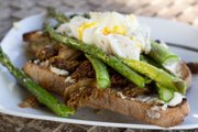 Morels and asparagus on toast