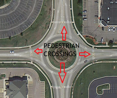 Roundabout at 37th & Wanamaker in Topeka, showing designated crosswalks for pedestrians.